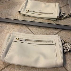 Coach leather clutch - cream color